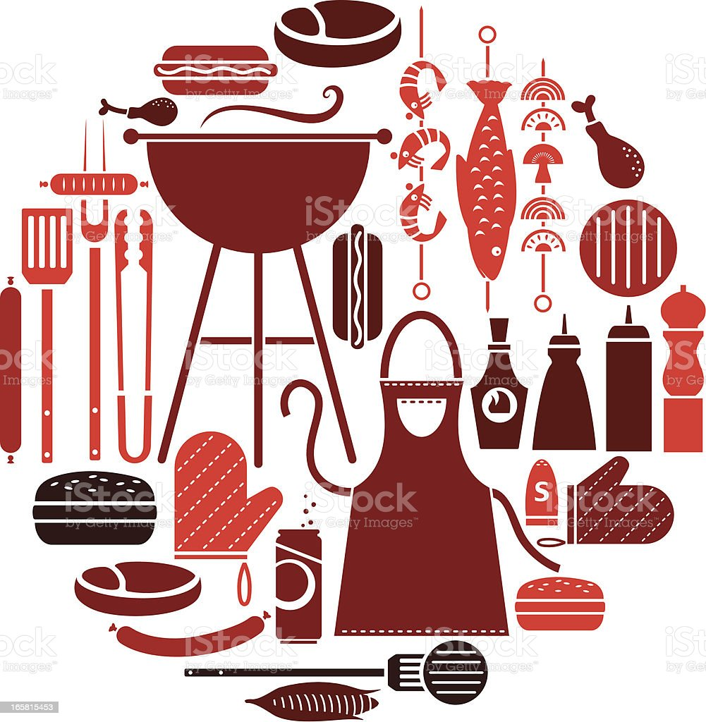 Set of several barbecue icons in different shades of red vector art illustration