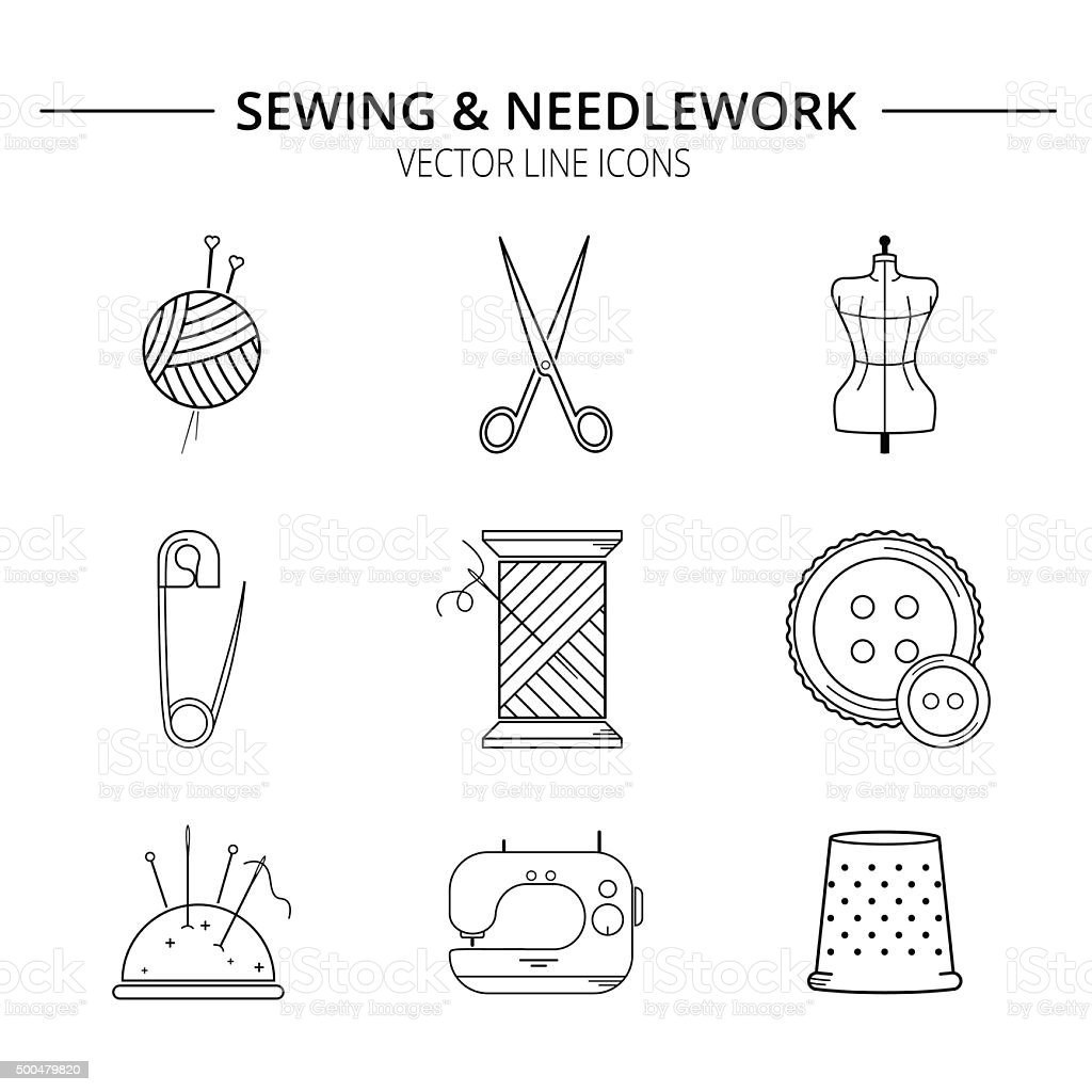 Set of sewing and needlework line icons. vector art illustration
