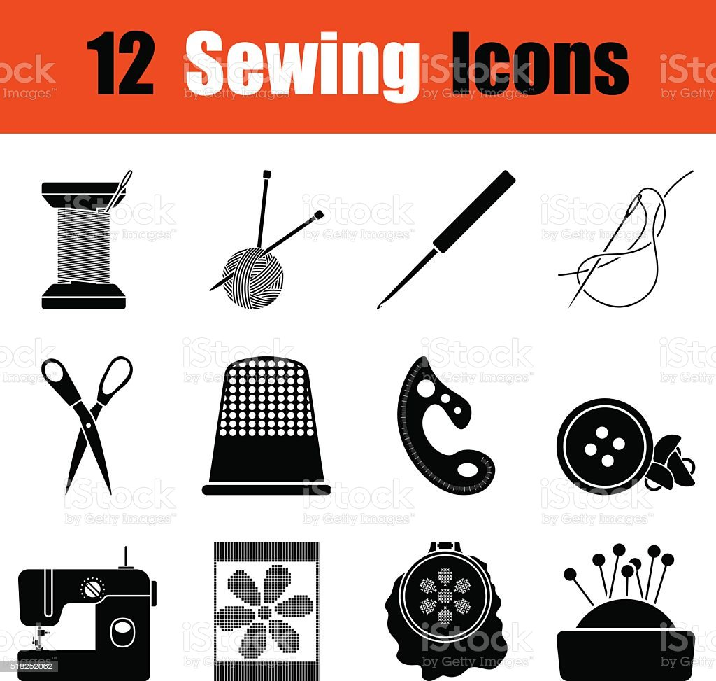 Set of sewing  icons vector art illustration