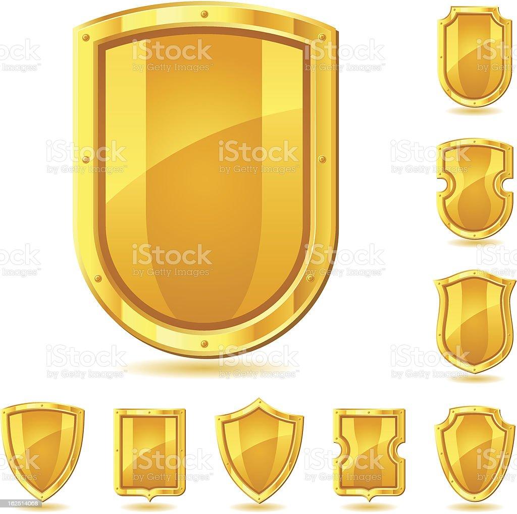 Set of shield icons, symbols and signs. royalty-free stock vector art