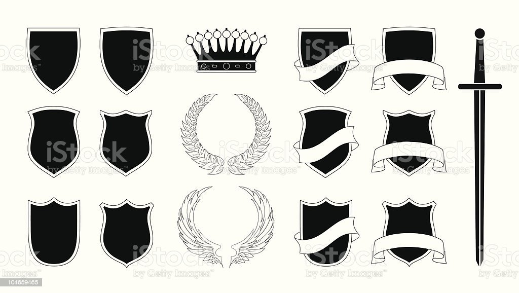 set of shields and other ancient elements royalty-free stock vector art