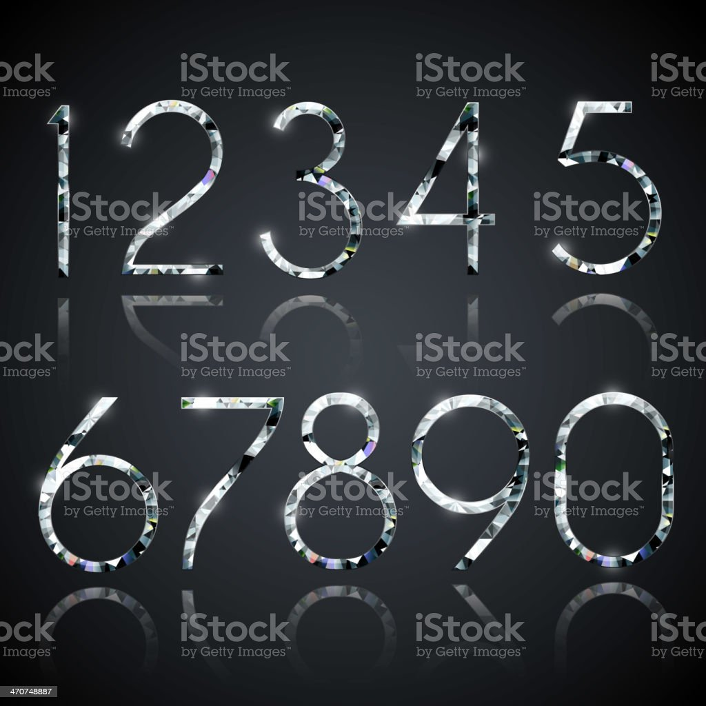 Set of shiny diamond digits with reflections vector art illustration