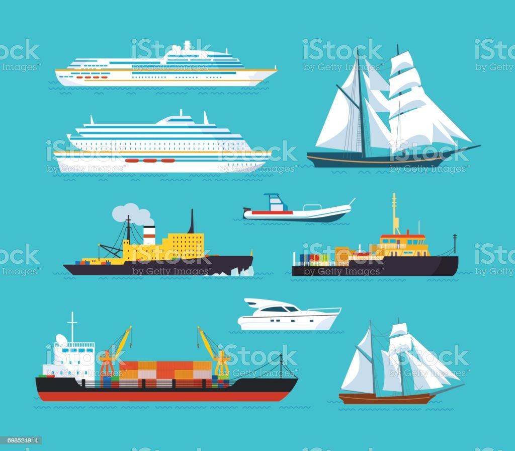 Set of ships in modern flat style: ships, boats, ferries vector art illustration