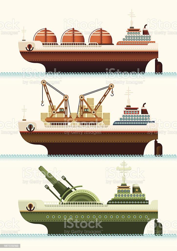 Set of ships. royalty-free stock vector art