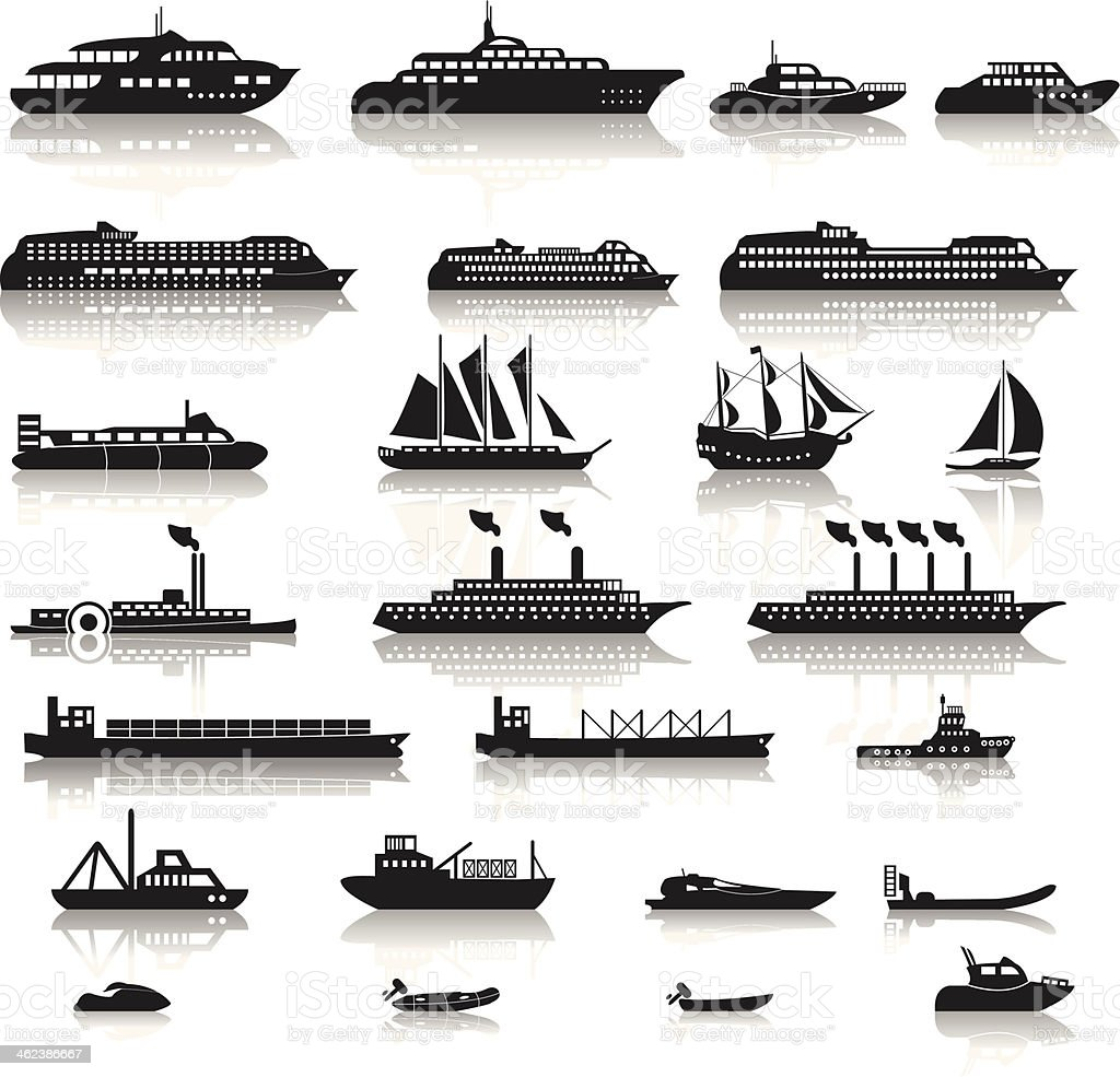Set of ships vector art illustration