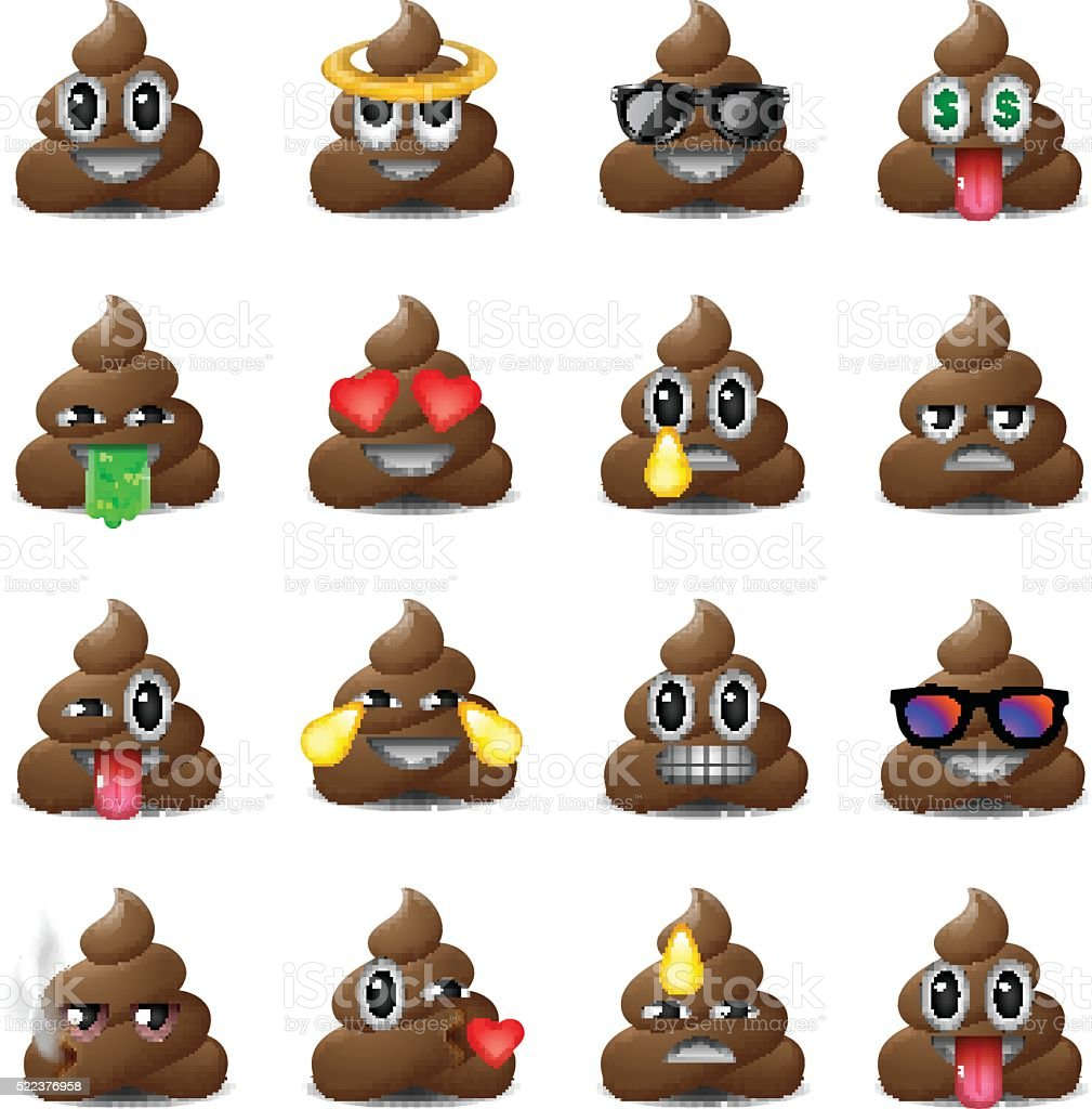 Set of shit icons, smiling faces, emoji, emoticons vector art illustration