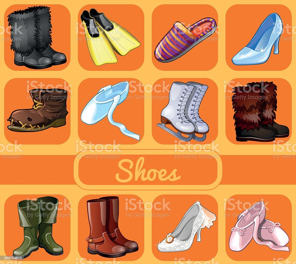 Set of shoes for all seasons and occasions vector art illustration