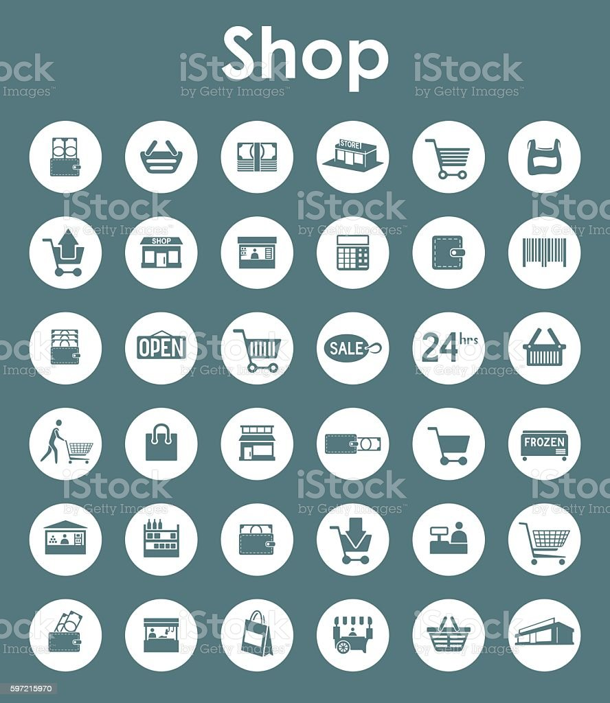 Set of shop simple icons vector art illustration