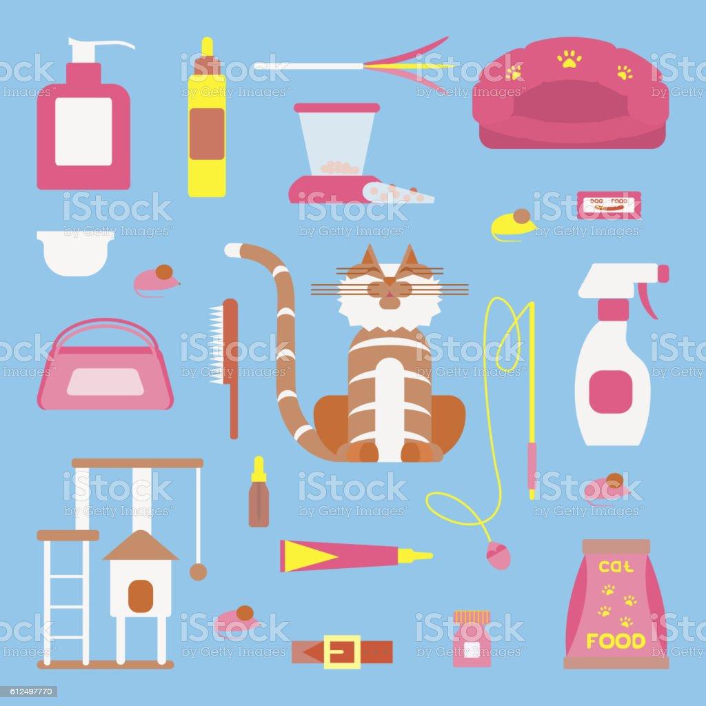 Set of sign cat accessories vector art illustration