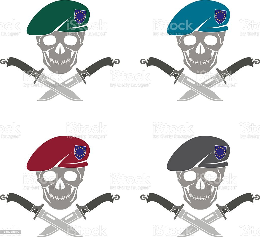 set of sign of special forces of EU vector art illustration