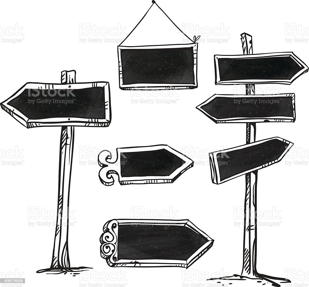 Set of signboards. Hand drawn. vector art illustration