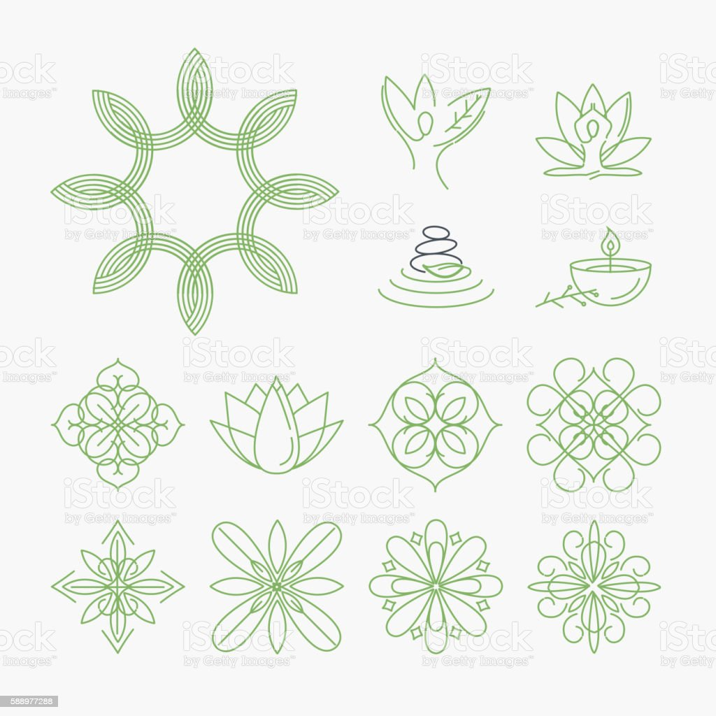 Set of signs and elements for spa and cosmetics vector art illustration