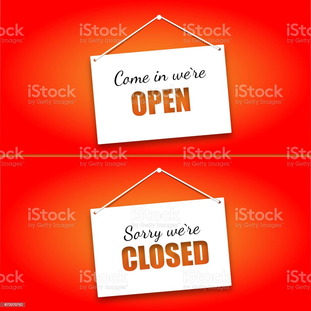 Set of signs on the doors Opened and Closed on a bright red background. Hanging signs, paper card vector art illustration