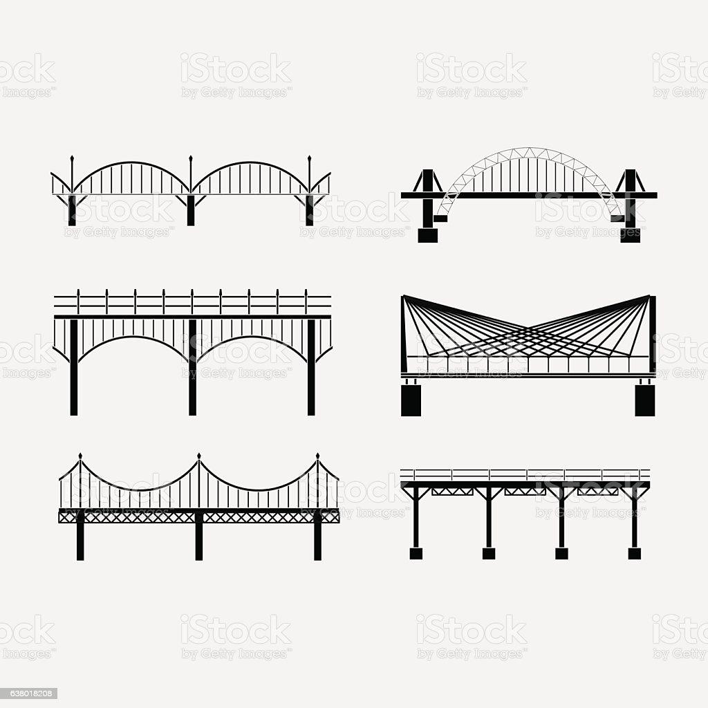 set of silhouette bridge icons bridges, suspension vector art illustration