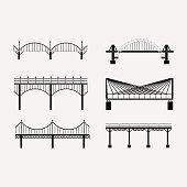 set of silhouette bridge icons bridges, suspension
