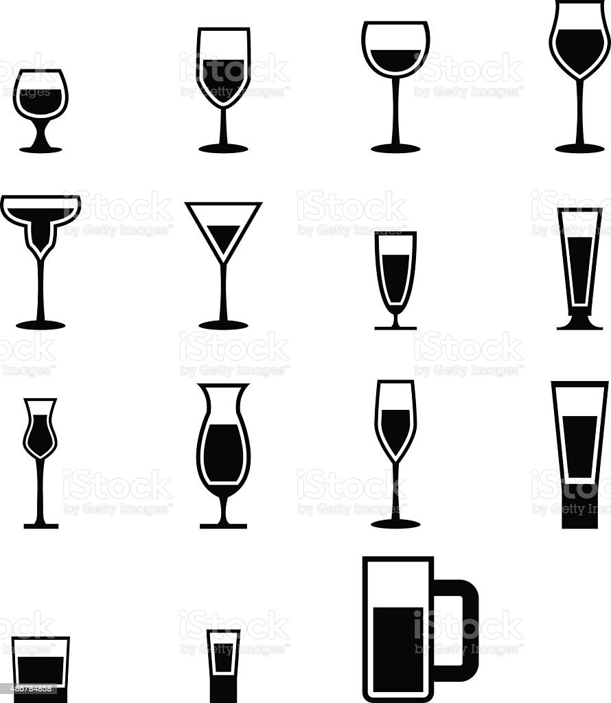 Set of silhouette glass Icons with water vector art illustration