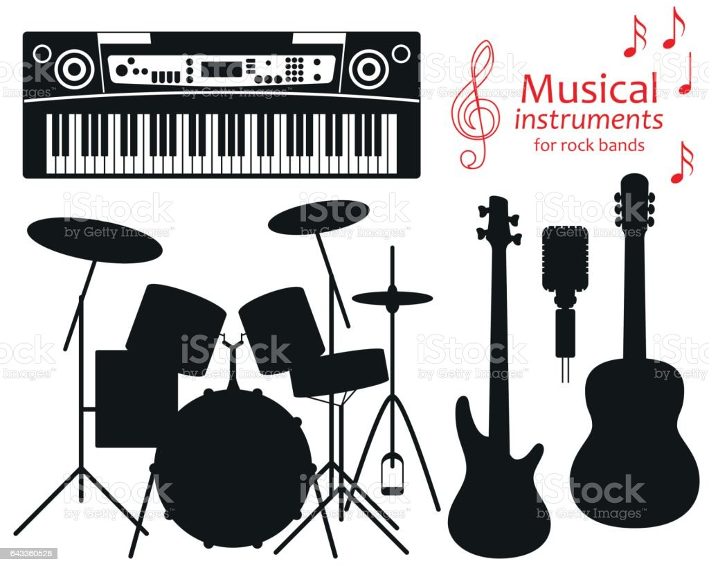 Set of silhouette icons. Musical instruments for rock bands. Vector illustration vector art illustration