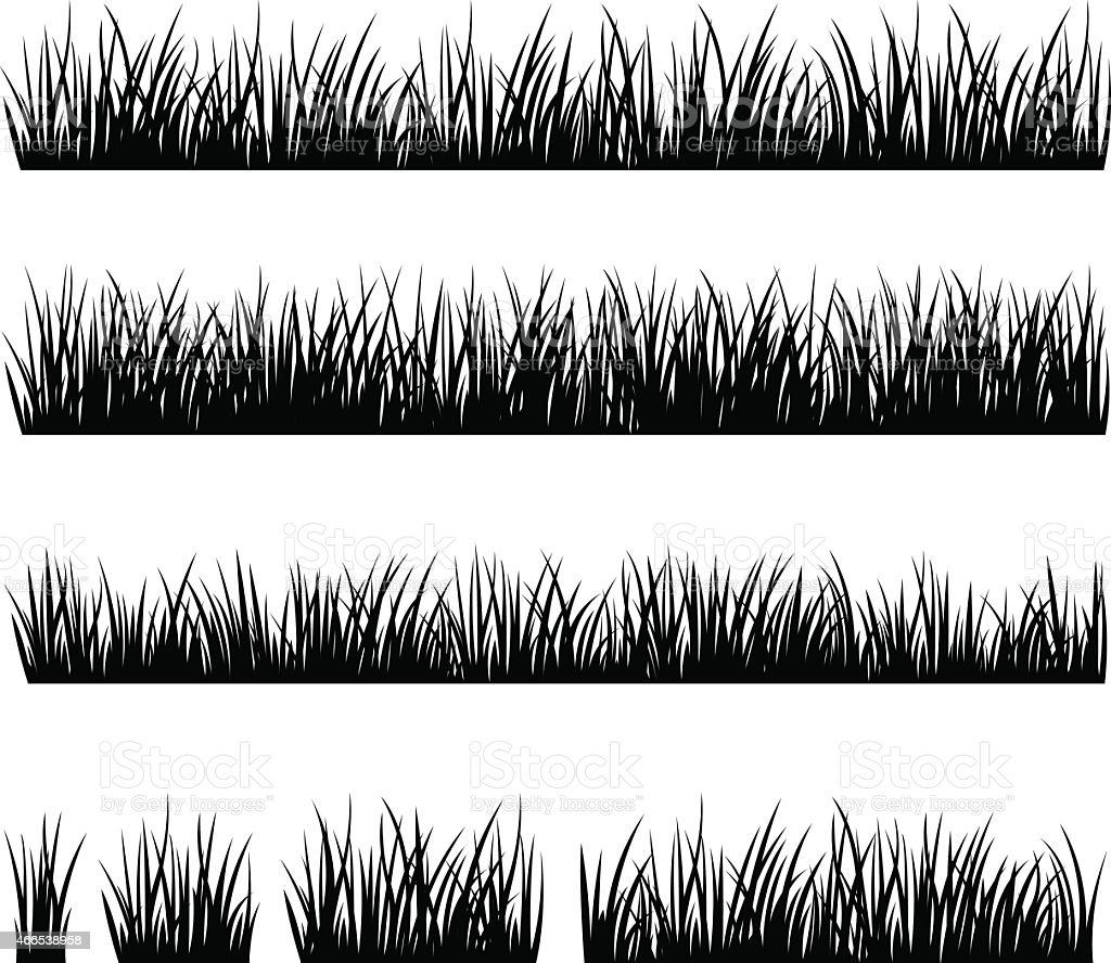 Set of silhouette of grass isolated on white background vector art illustration