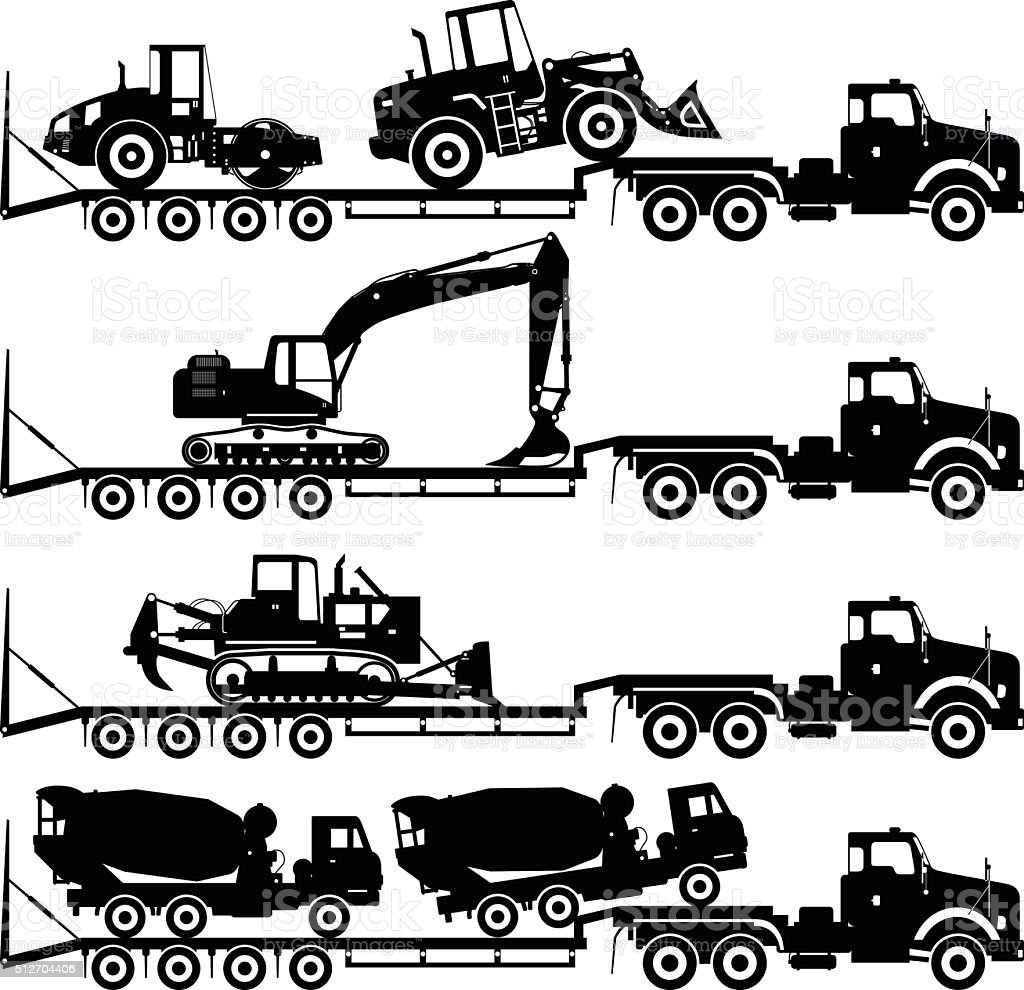 Set of silhouettes auto transporter and heavy construction machines. vector art illustration