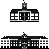 Set of silhouettes classical school building isolated on white background.