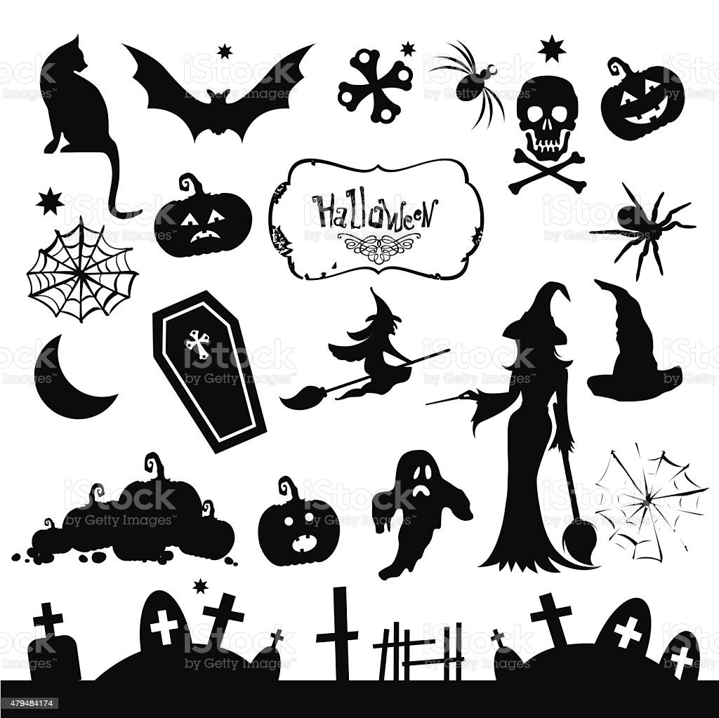 Set of silhouettes for Halloween party. Funny and scary silhouet vector art illustration