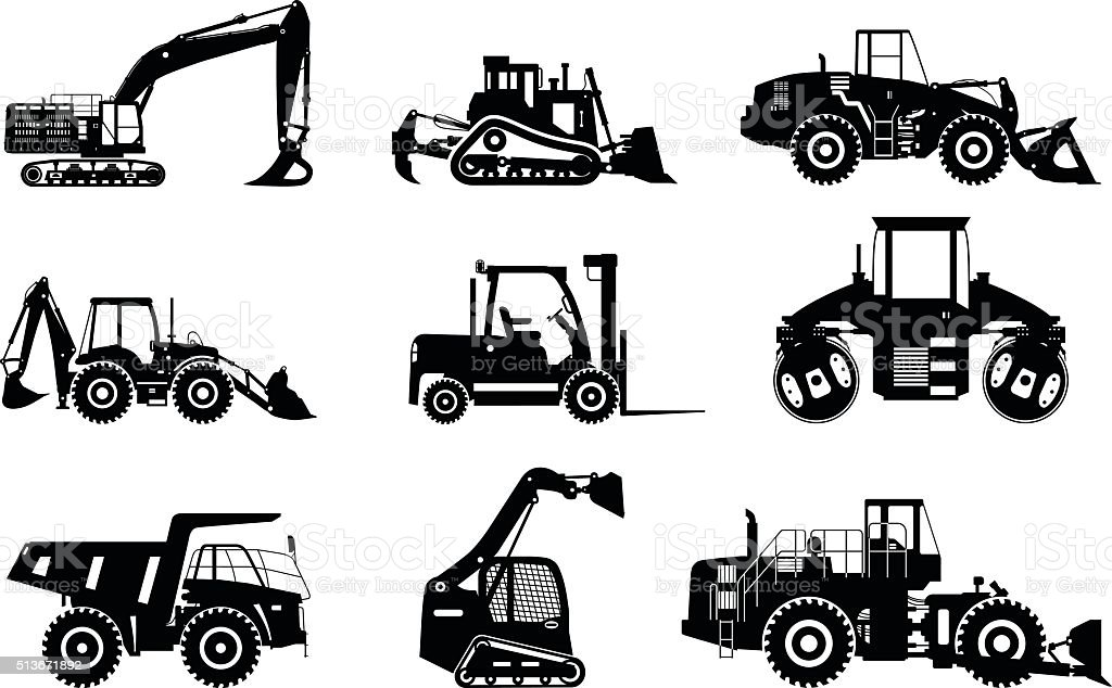 Set of silhouettes heavy construction and mining machines. vector art illustration