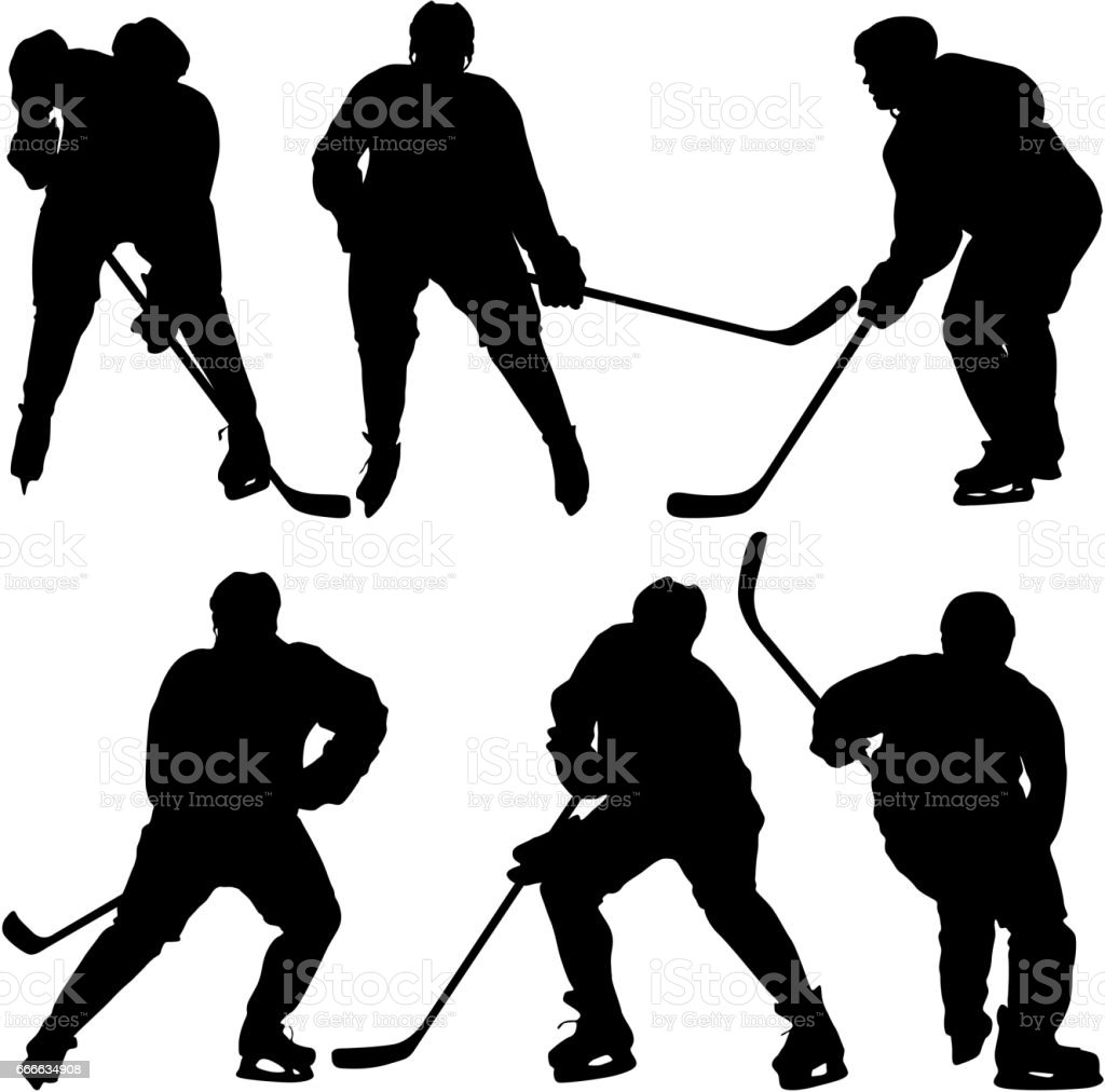 Set of silhouettes hockey player. Isolated on white. Vector illustrations vector art illustration