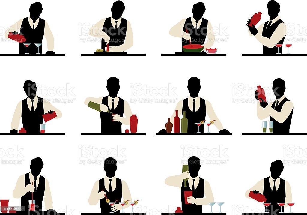 Set of silhouettes of a bartender prepares cocktails vector art illustration