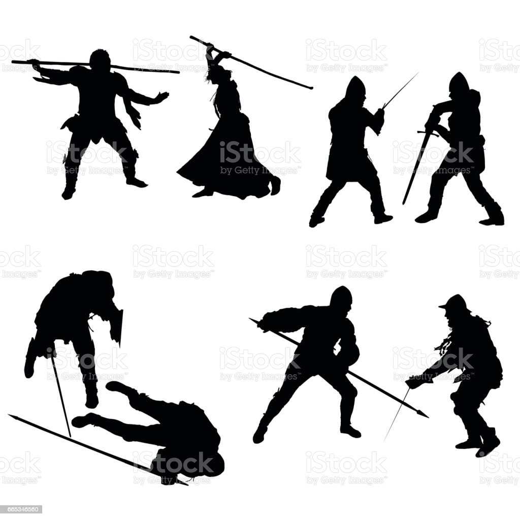 Set of silhouettes of fighters, swordsmen, lancers, men and women in armor with a sword, spear and staff, isolated on white background - vector vector art illustration