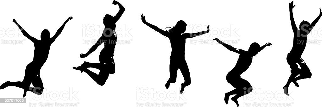 Set of Silhouettes of Happy teenagers jumping for joy stock photo