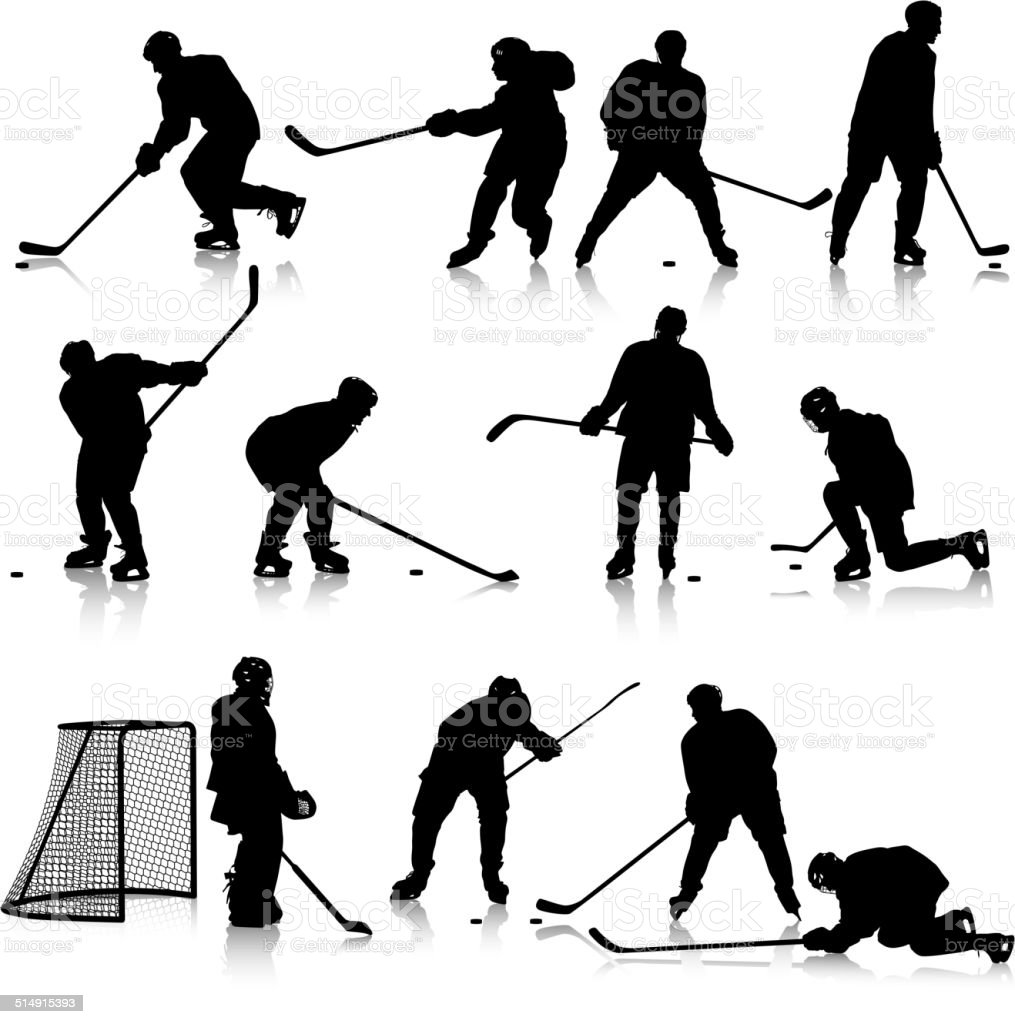 Set of silhouettes of hockey player vector art illustration