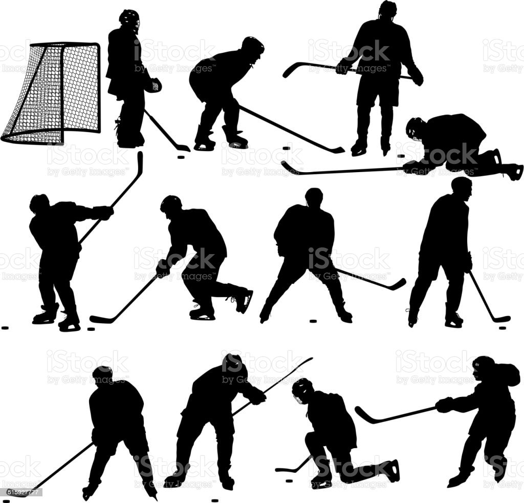 Set of silhouettes of hockey player. vector art illustration