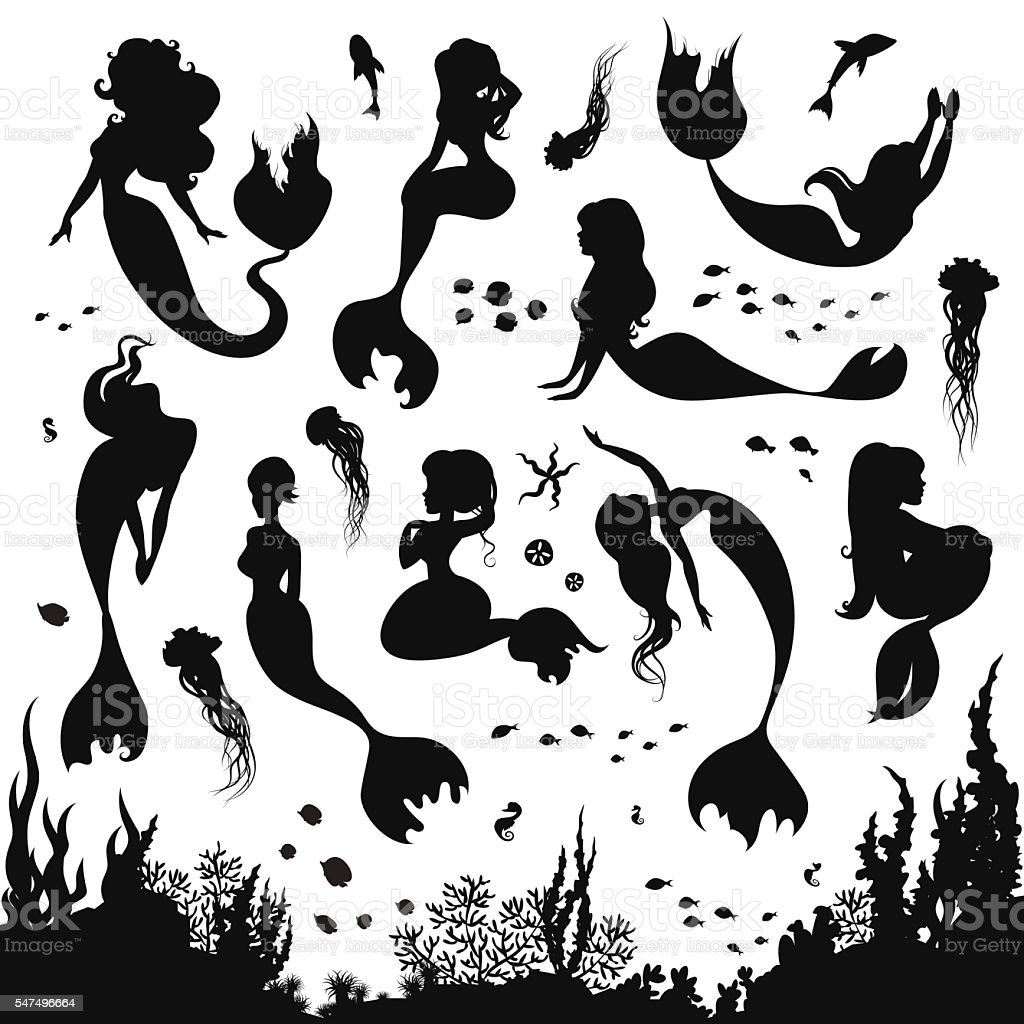 Black and white silhouettes of mermaid isolated on white background....