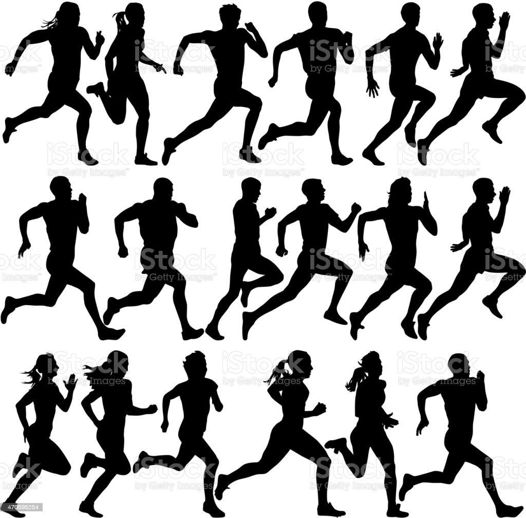 Set of silhouettes. Runners on sprint, men vector art illustration