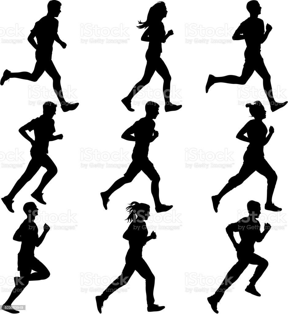 Set of silhouettes. Runners on sprint, men. vector art illustration