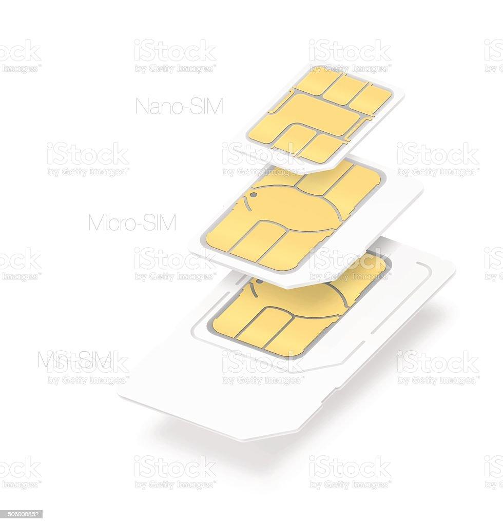 Set of SIM cards of different types. Vector illustration vector art illustration