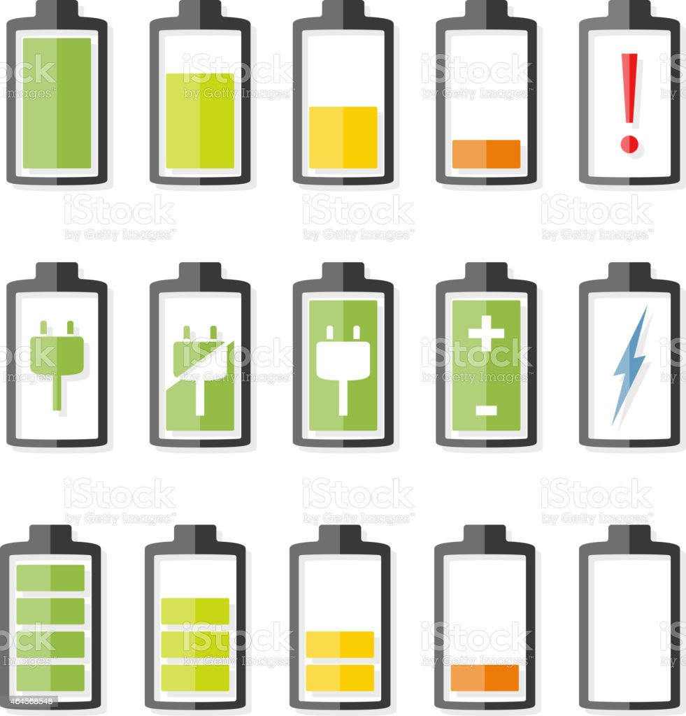 Set of simple battery charging icons vector art illustration