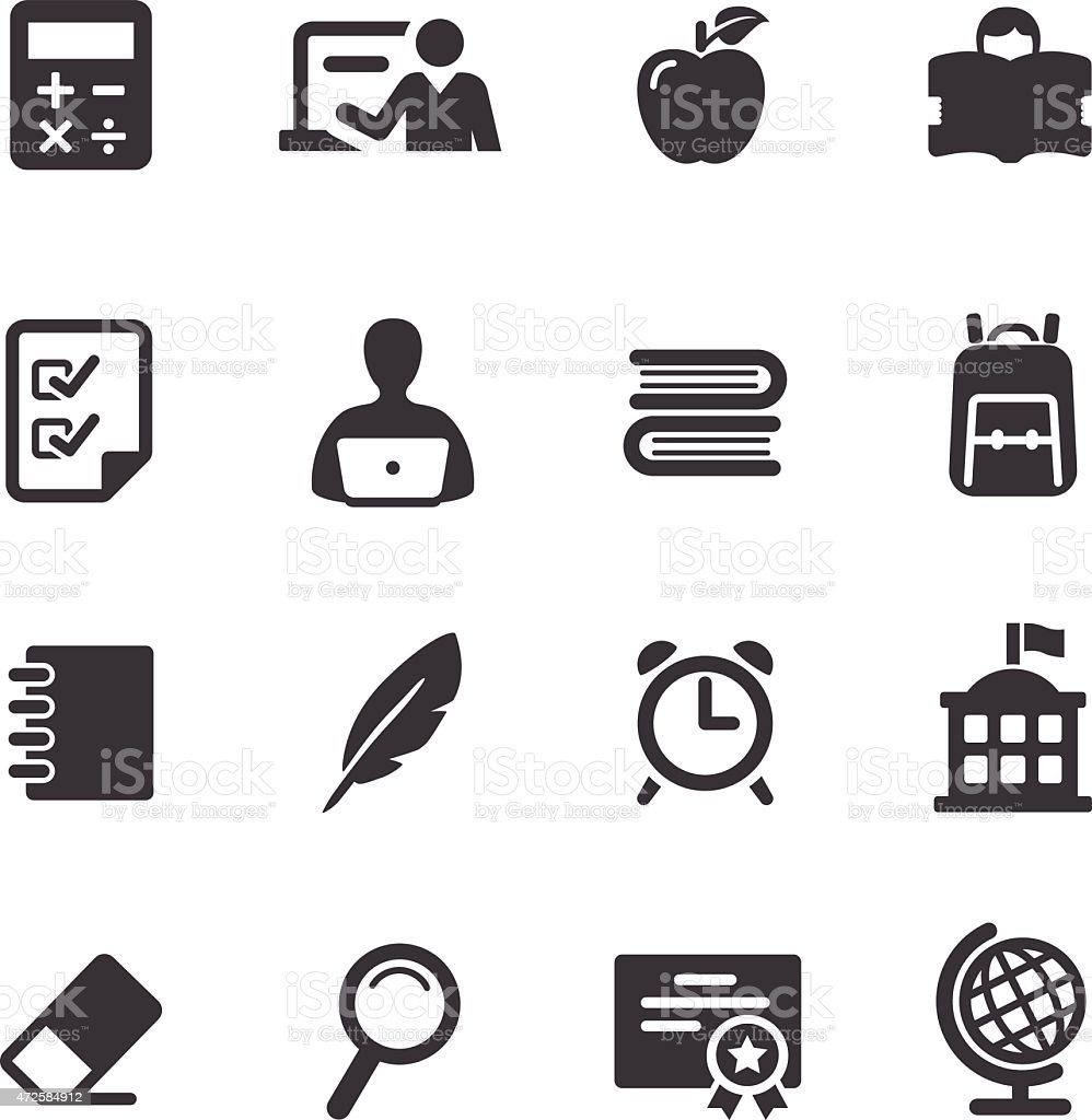 Set of simple black and white education icons vector art illustration