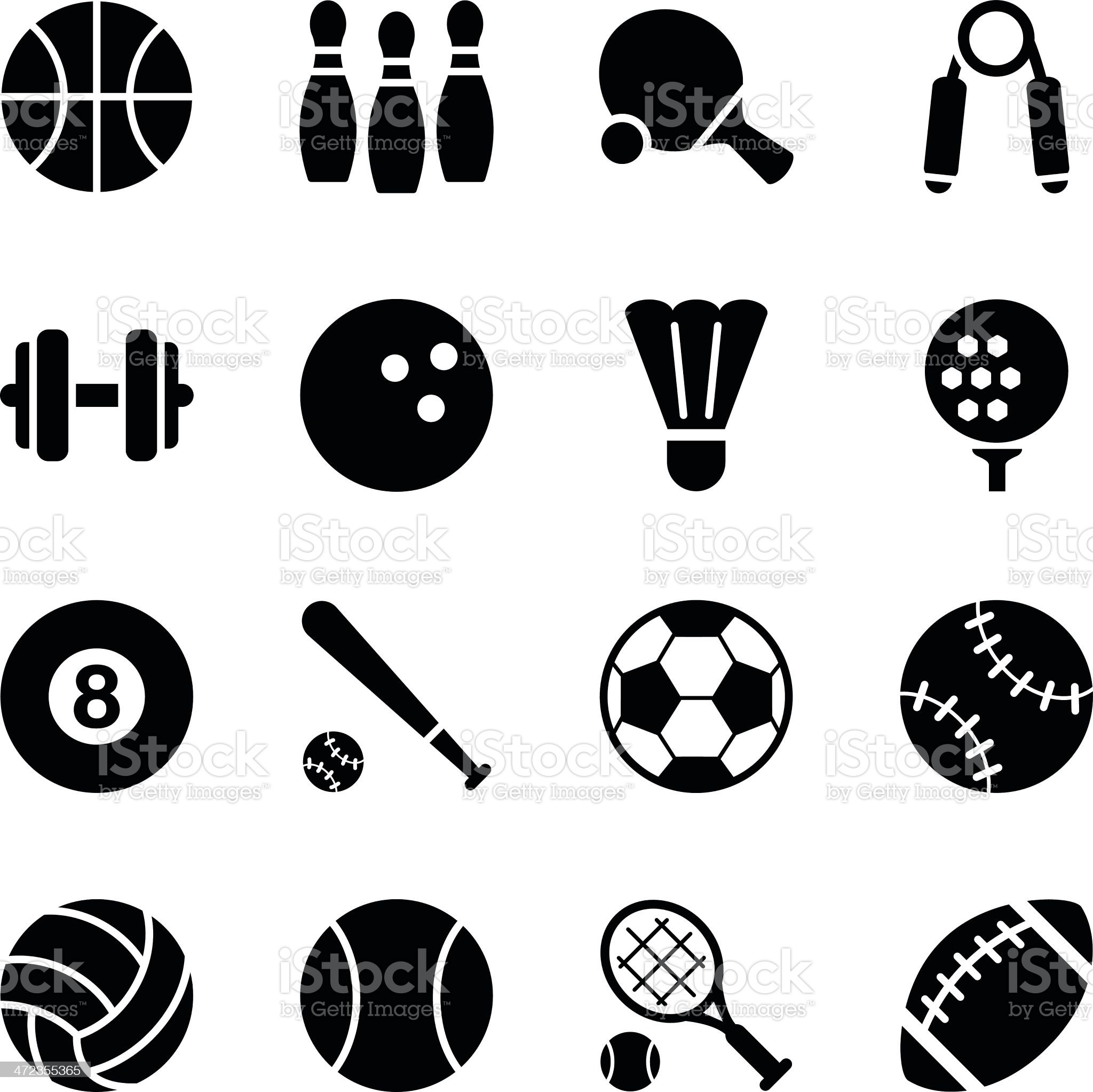 Set of simple black sports icons royalty-free stock vector art