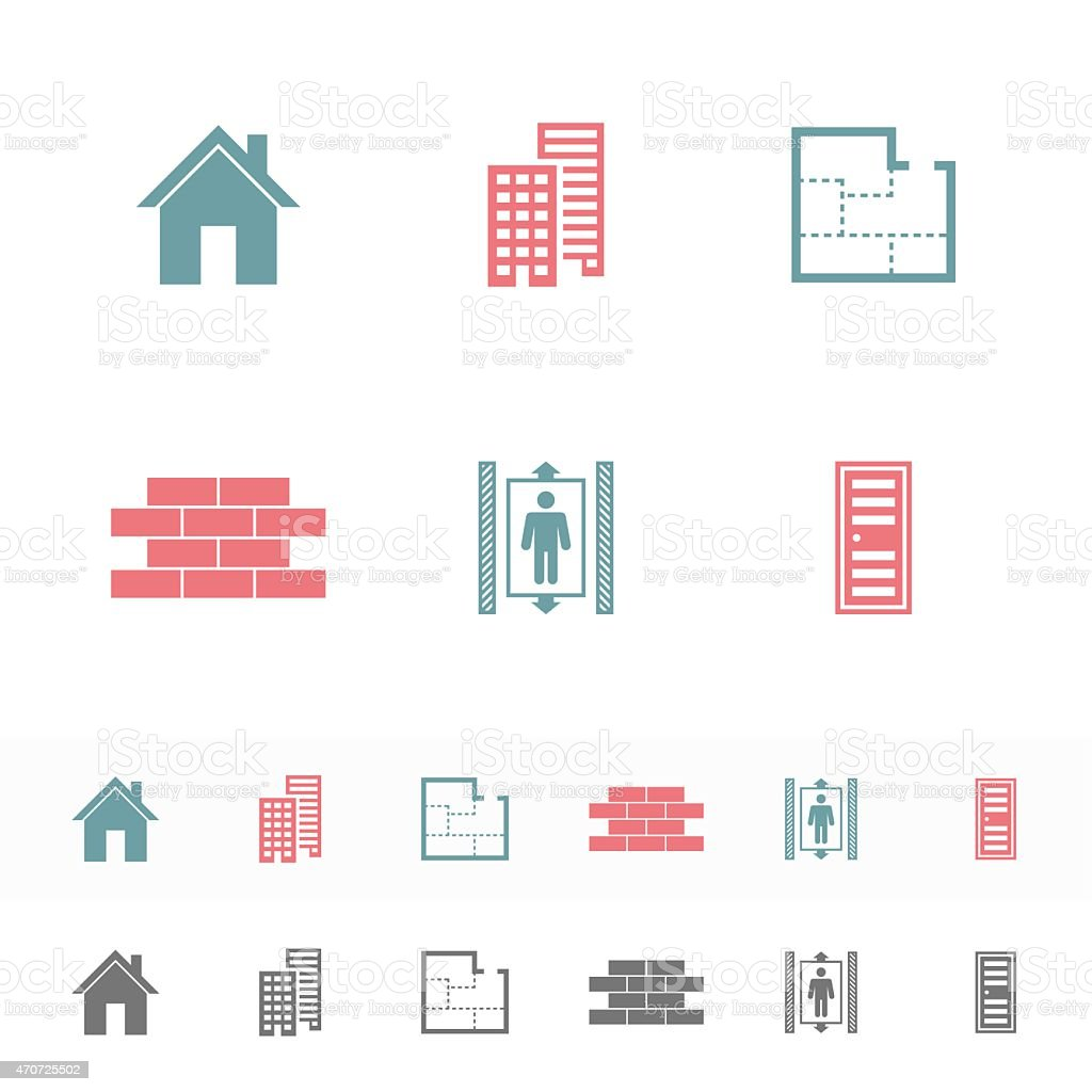 Set of simple building Flat Icons. vector art illustration