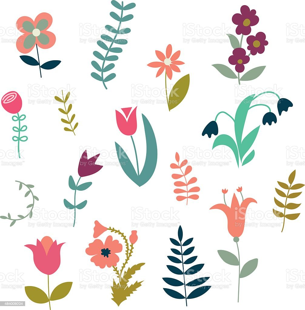 Set of simple cute plants and flowers vector art illustration