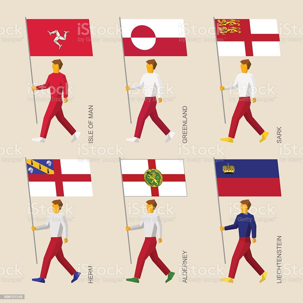 Set of simple flat people with flags of countries vector art illustration