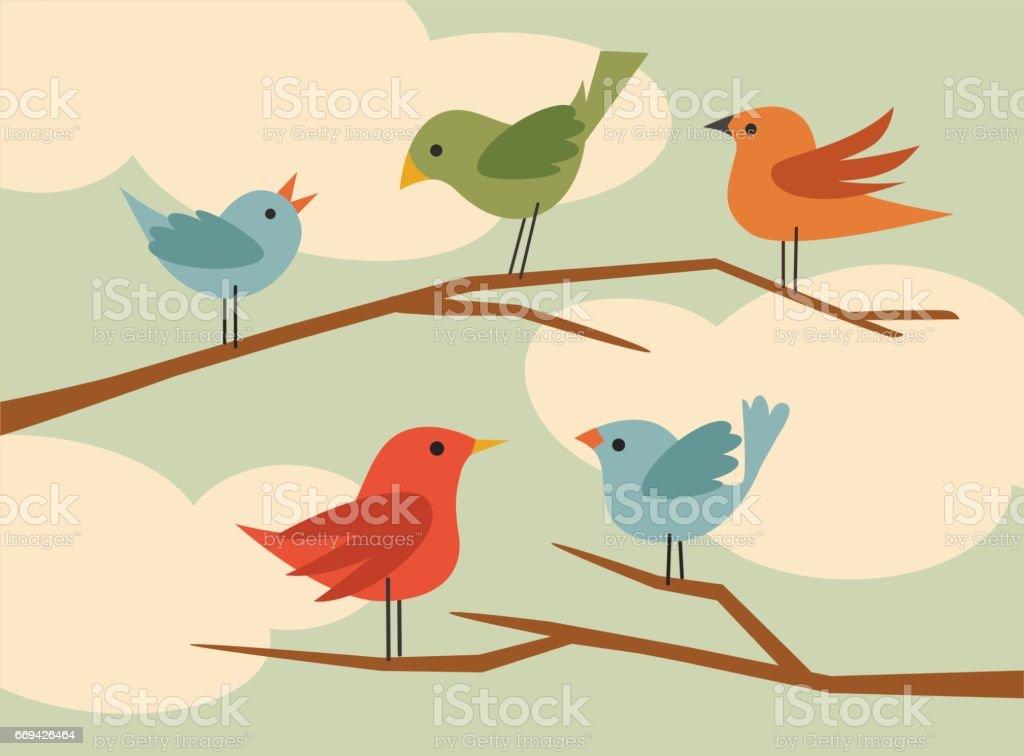 set of simple flat style cartoon birds. Vector illustration