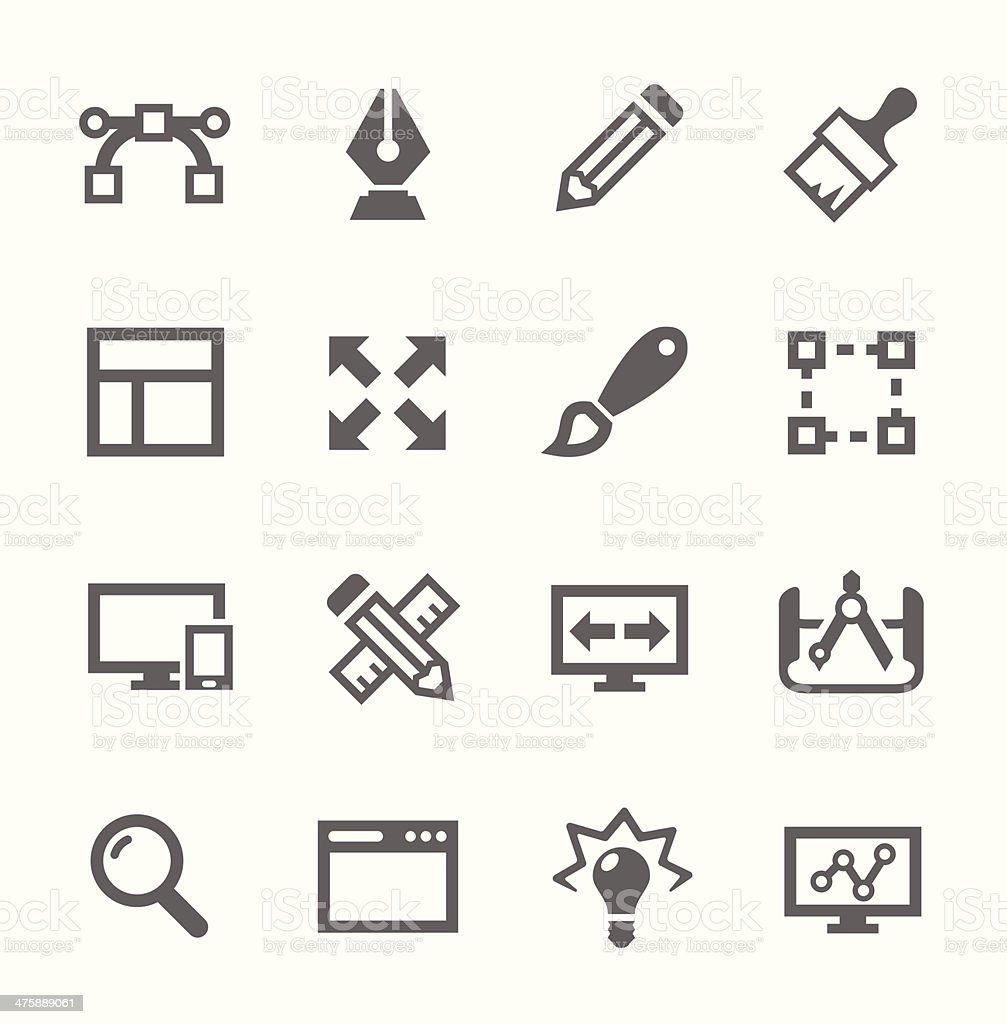 Set of simple gray design-related icons vector art illustration