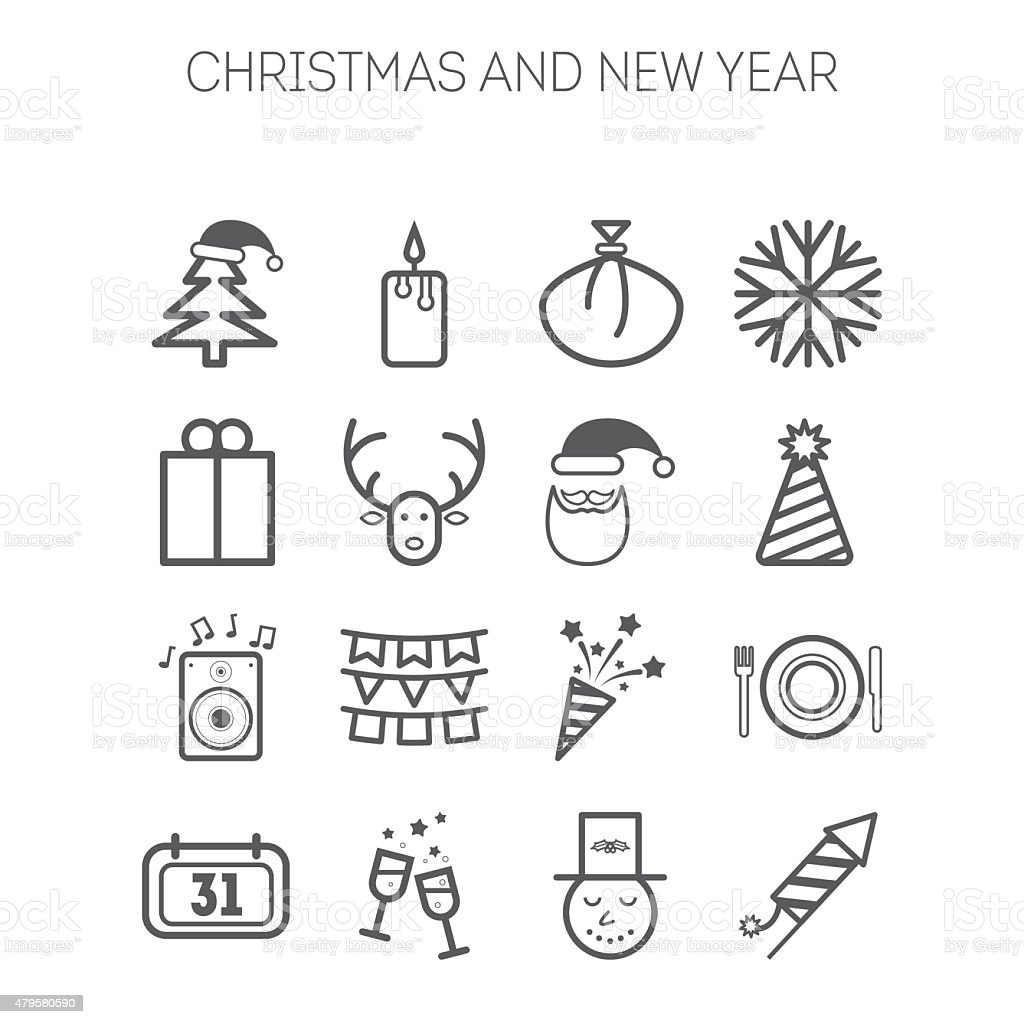 Set of simple icons for New Year and Christmas vector art illustration