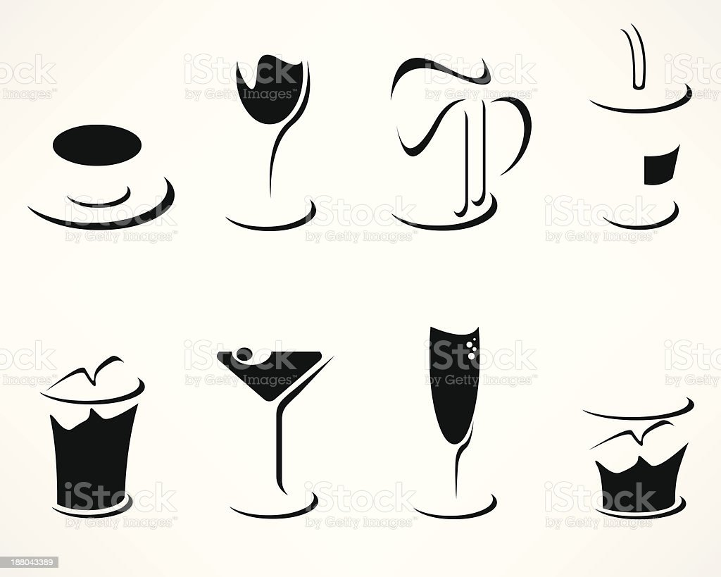 Set of simple minimalistic drink icons vector art illustration