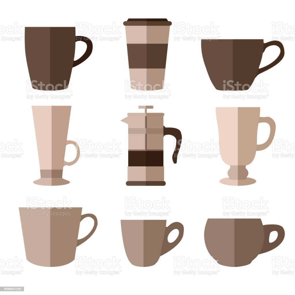 Set of simple monochrome coffee cups and french press flat icons vector art illustration