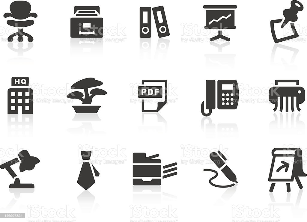 Set of simple office and work related icons vector art illustration
