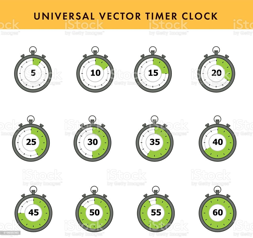 Set of simple timers. vector art illustration