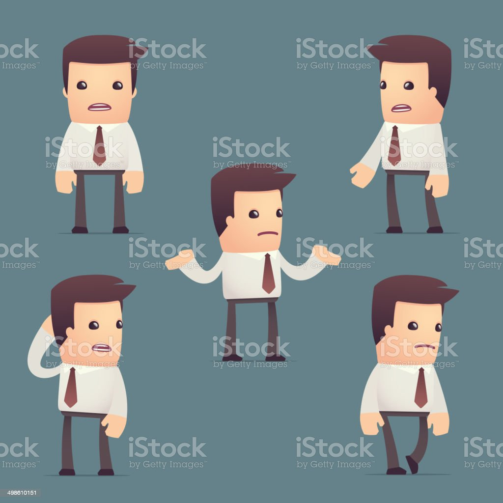 set of simple universal characters in different poses. manager. vector art illustration